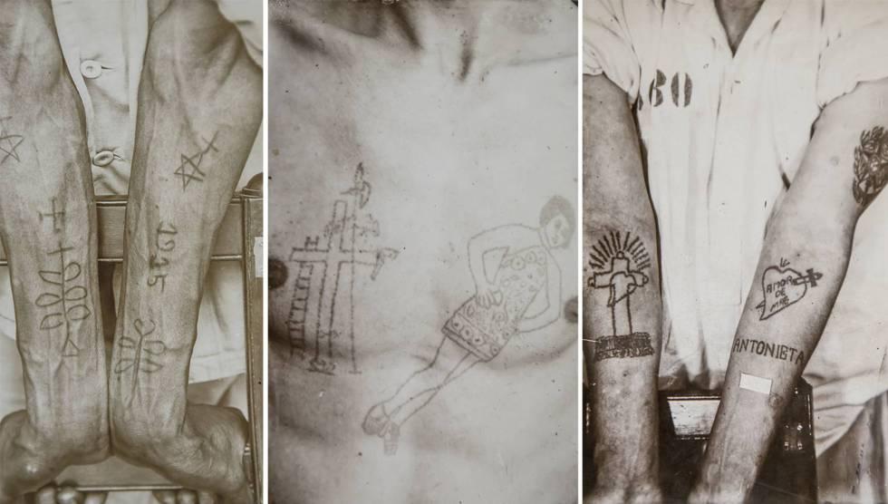 Várias imagens das tatuagens de prisioneiros brasileiros e estrangeiros da coleção do museu.