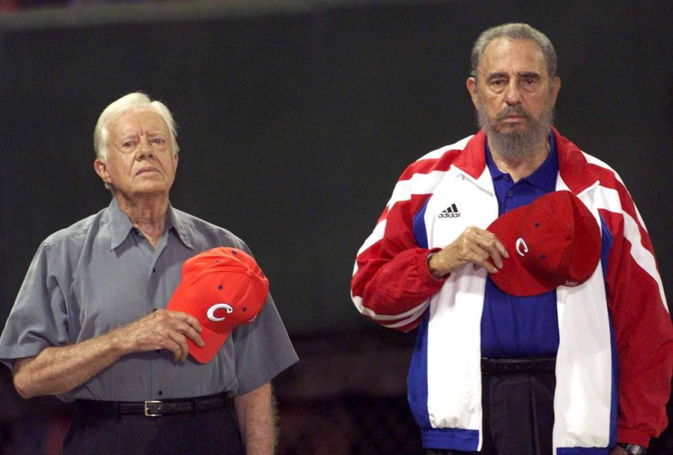 O presidente norte-americano Jimmy Carter (esquerda) e Fidel Castro.