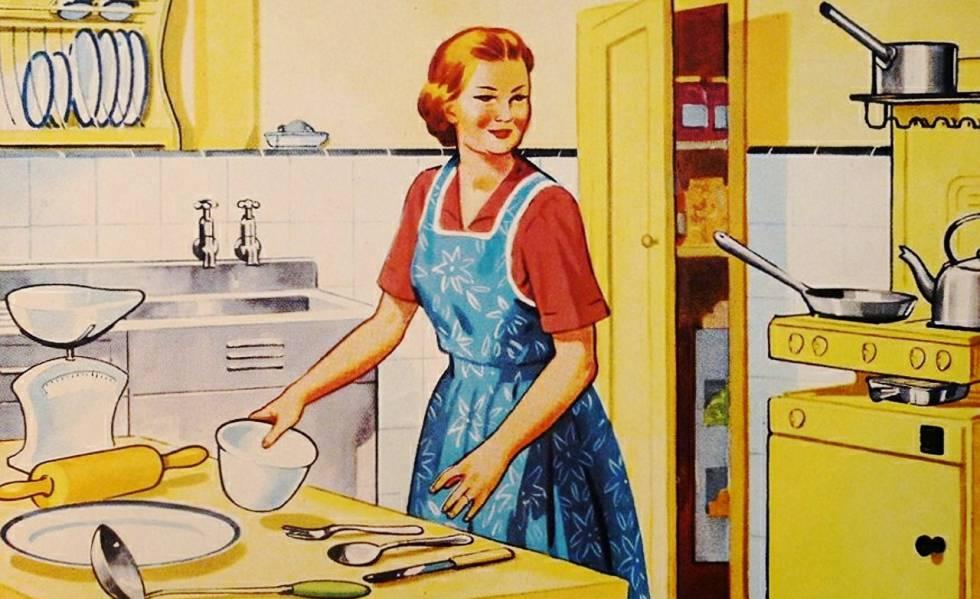 Imagem de um manual de cozinha para mulheres dos anos 50.