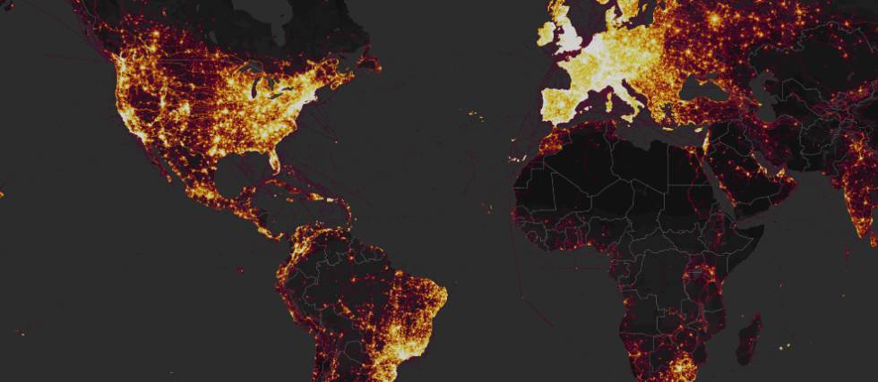 Captura de tela do mapa divulgado pela Strava