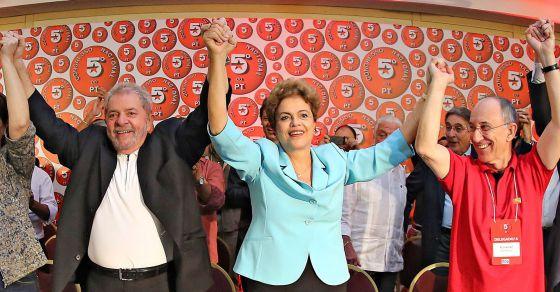 Lula, Dilma e Rui Falcão no Congresso do PT.
