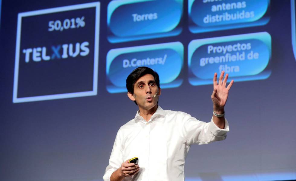 O presidente-executivo do Grupo Telefónica, José María Álvarez-Pallete, durante a coletiva de imprensa desta quarta-feira.