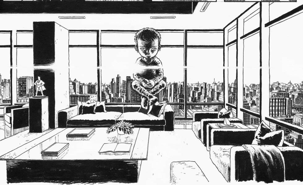 Página do novo 'Dark Knight Returns: The Golden Child', cujo desenho foi feito com participação de Grampá.