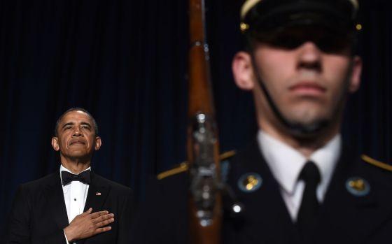 Obama no jantar de gala com a imprensa no sábado em Washington.