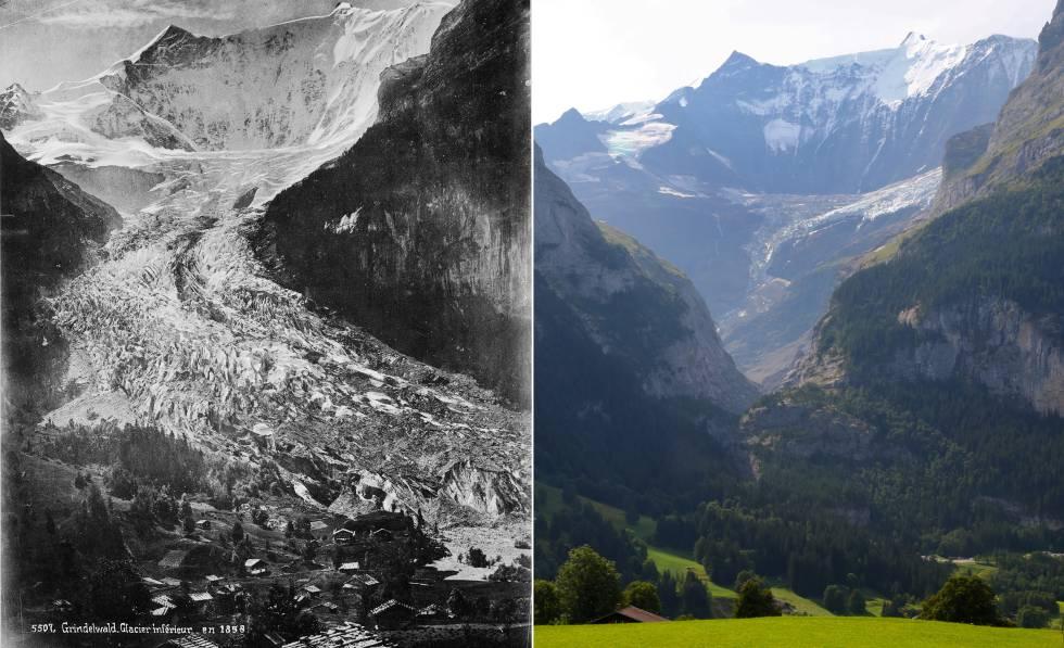 O glacial Lower Grindelwald, nos Alpes suíços, em 1865 e em 2019.