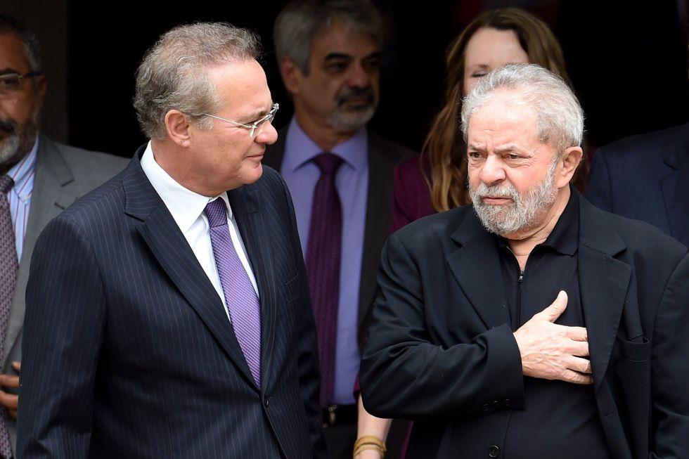 Renan Calheiros e Lula após encontro na casa do senador.