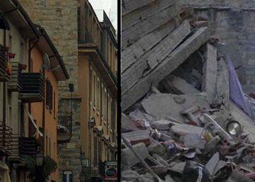 Veja o antes e o depois da cidade de 2.600 habitantes, da província de Rieti, que foi uma das mais destruídas pelo tremor de 6,2 graus na Itália