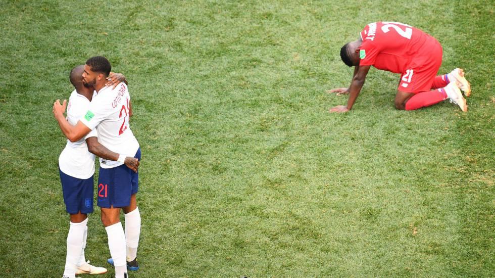 Comemoração inglesa no final da partida