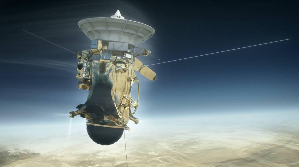 Ilustração da Cassini da NASA na atmosfera de Saturno.