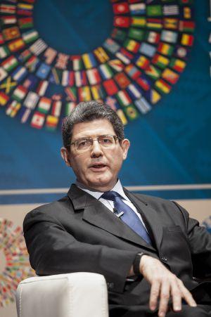 Levy em evento do FMI no dia 8, em Lima.