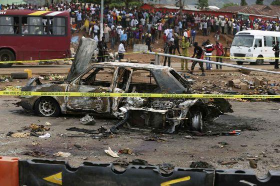 O suposto carro bomba do atentado em Nyanya.