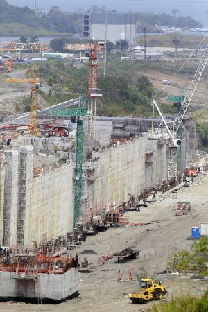 Vista panorâmica da ampliação do Canal de Panamá.
