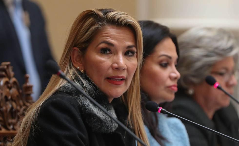 A presidenta interina da Bolívia, Jeanine Áñez.