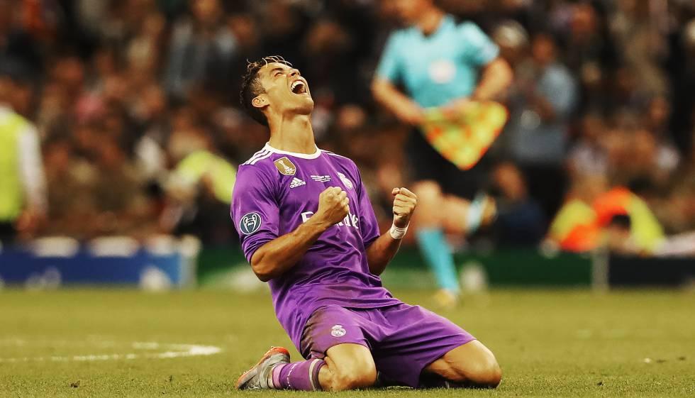 Cristiano Ronaldo comemora sua terceira Champions com o Real Madrid.
