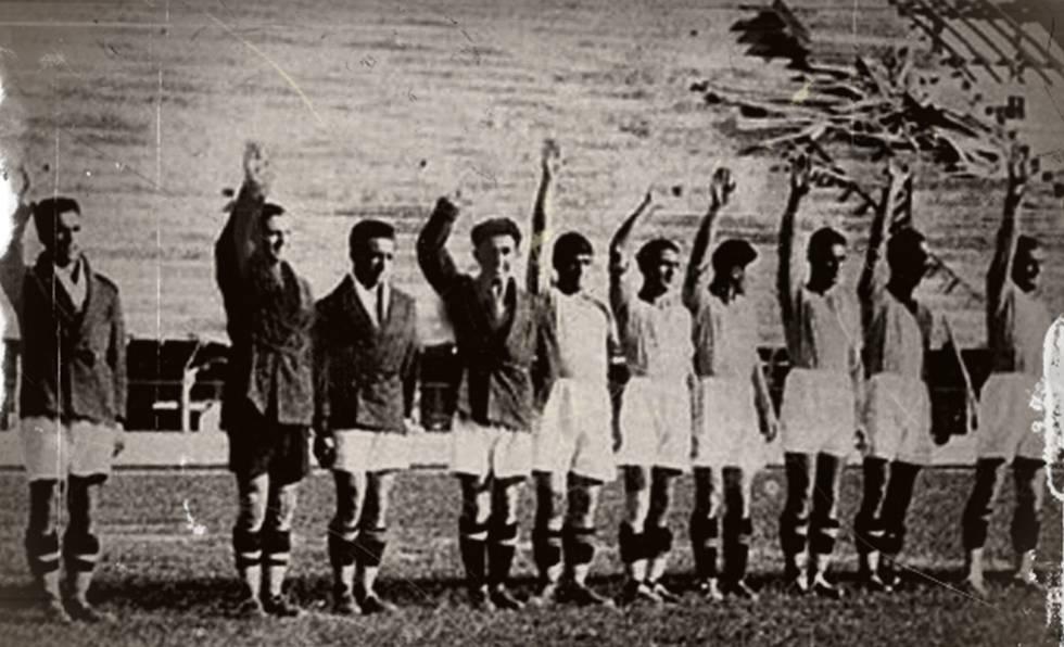 Bruno Neri, terceiro da esquerda para a direita, na inauguração do estádio da Fiorentina.