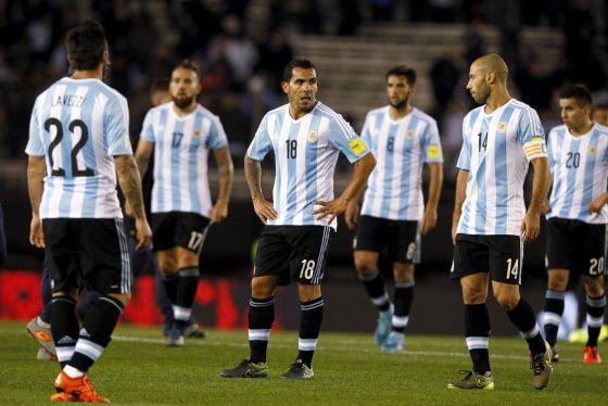 Desolação dos jogadores argentinos.
