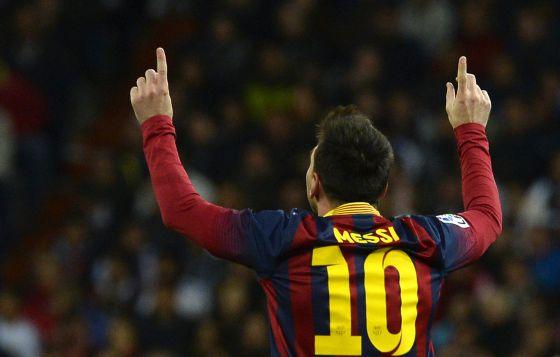 Messi comemora um dos seus gols.