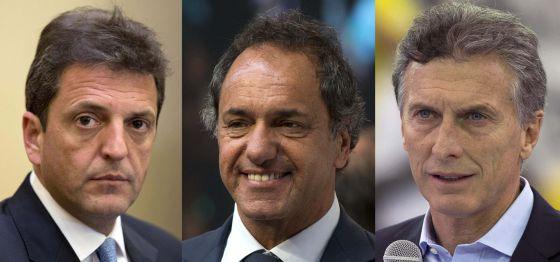 Sergio Massa, Daniel Scioli e Mauricio Macri.