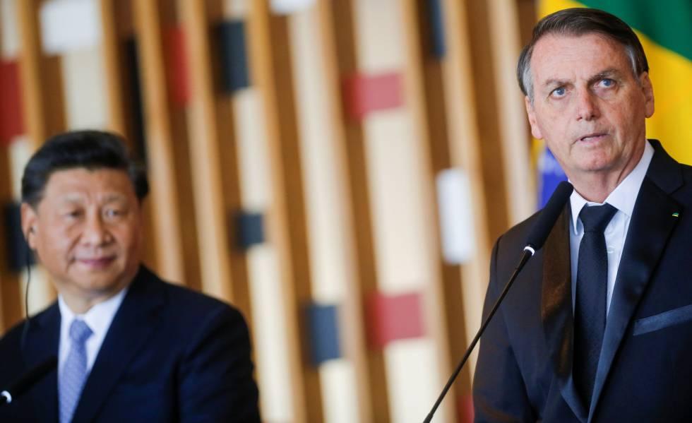 Xi e Bolsonaro em encontro no Itamaraty, em novembro.