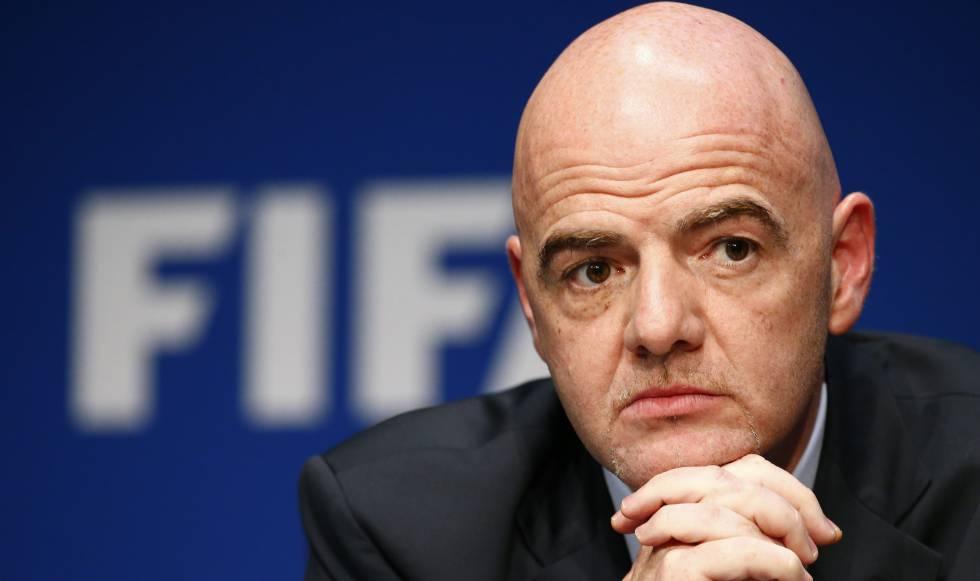 O presidente da FIFA, Infantino, na reunião desta terça-feira.