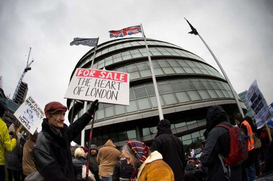 Protesto contra a política de habitação em Londres, em janeiro.