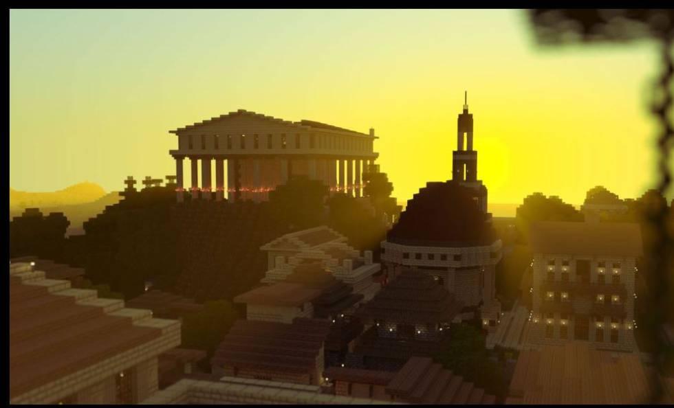 Cidade romana recriada com o videogame Minecraft.