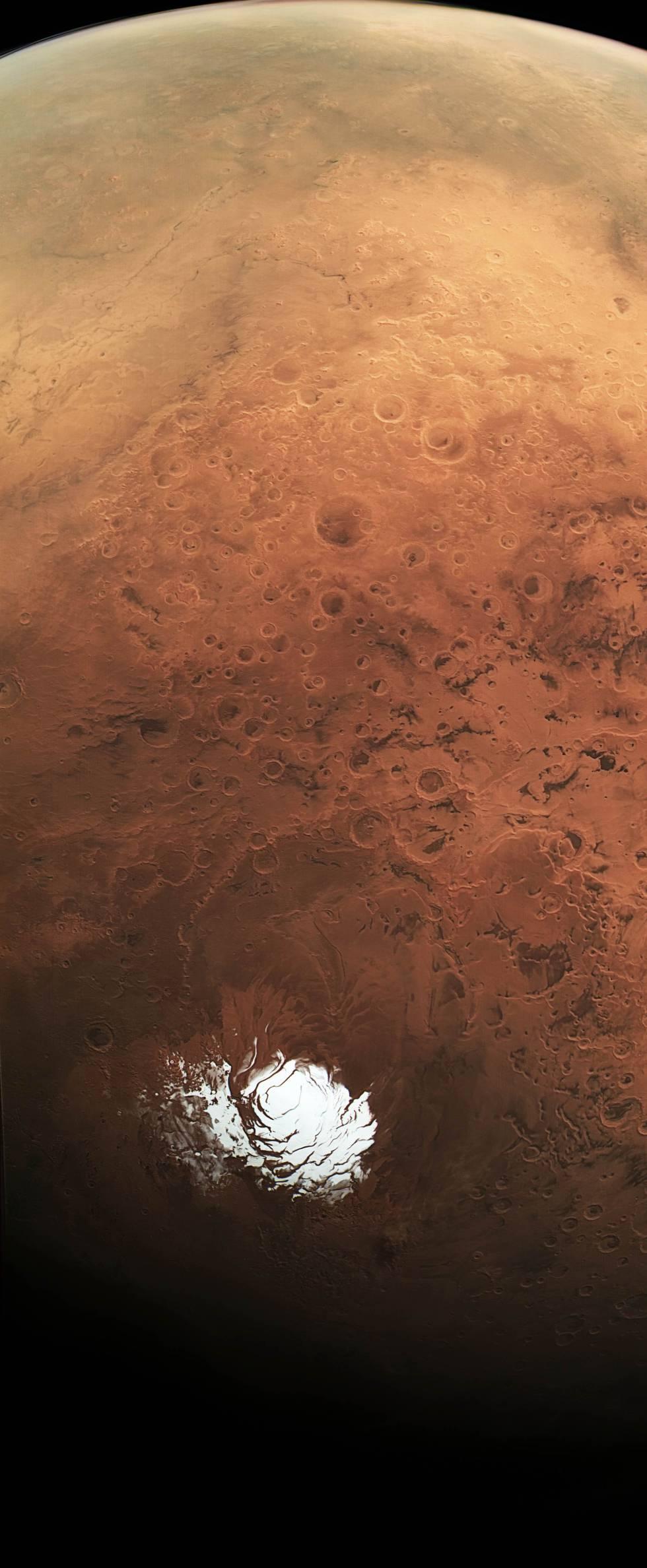 Imagem do pólo sul marciano tomada pela sonda 'Mars Express' em 2015.