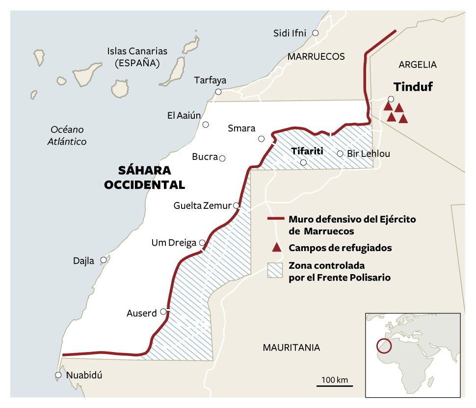 Mapa de la división territorial del Sáhara