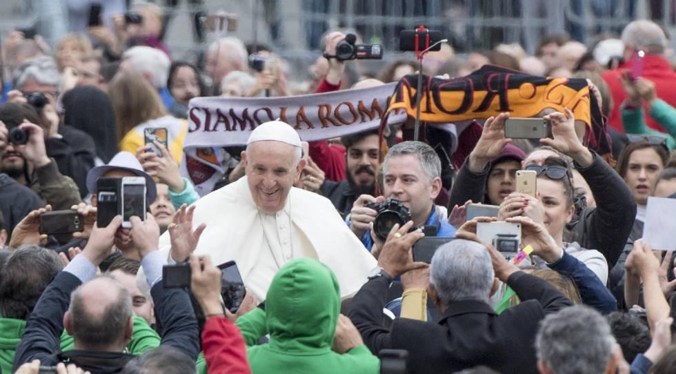 O papa Francisco nesta quarta-feira na Praça São Pedro.