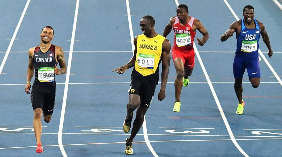 Bolt vence a De Grasse em sua série dos 200m