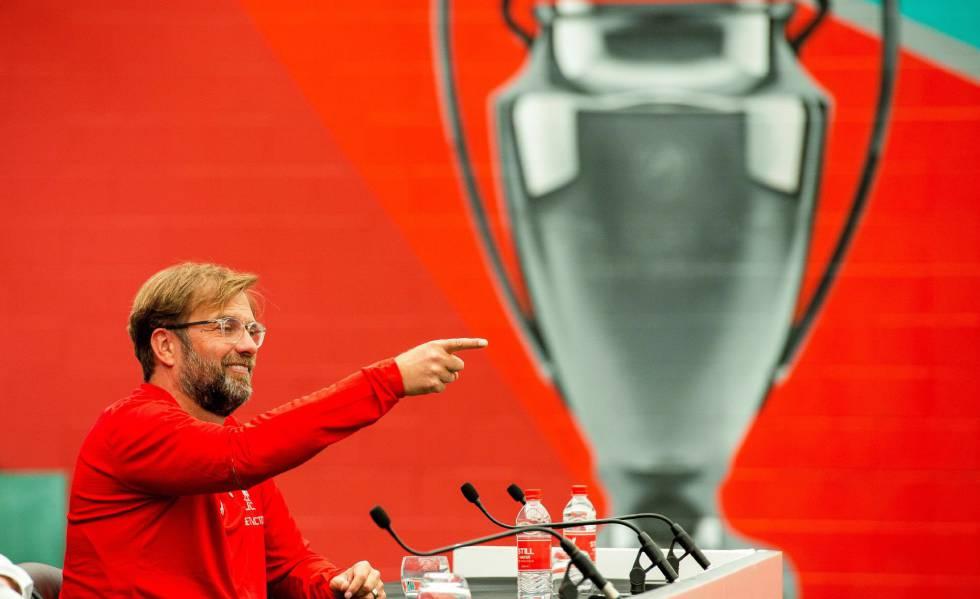 Klopp durante uma coletiva de imprensa antes da final da Champions.