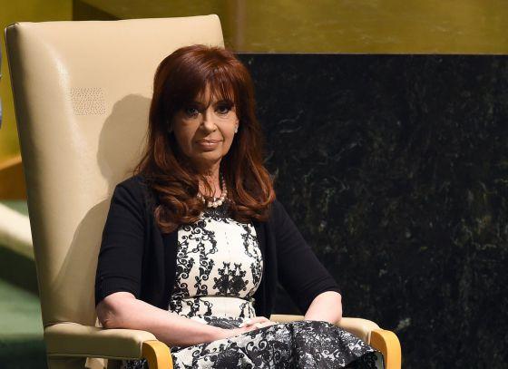 Cristina Kirchner, durante uma sessão da ONU realizada em Nova York, em 24 de setembro.