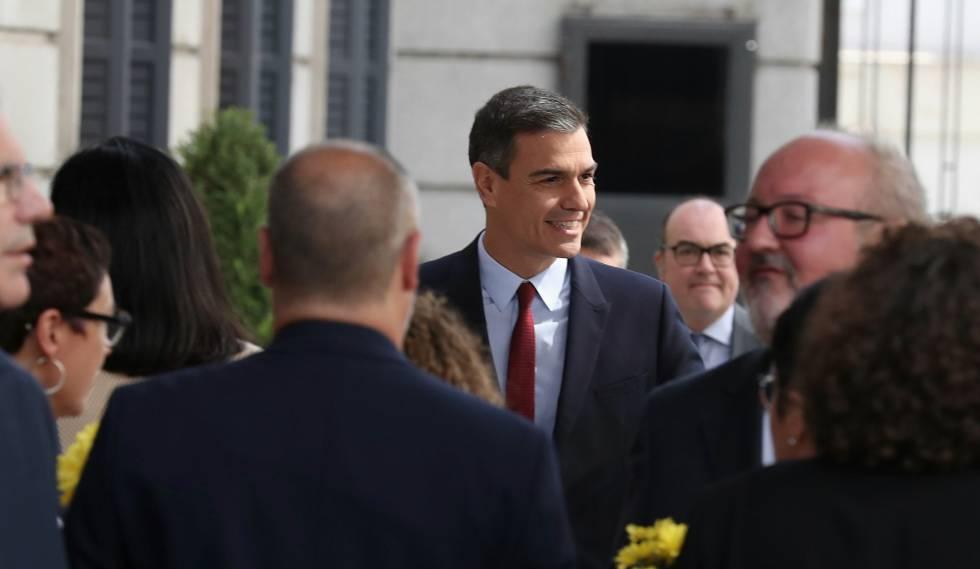 Pedro Sánchez, em sua chegada ao Congresso.