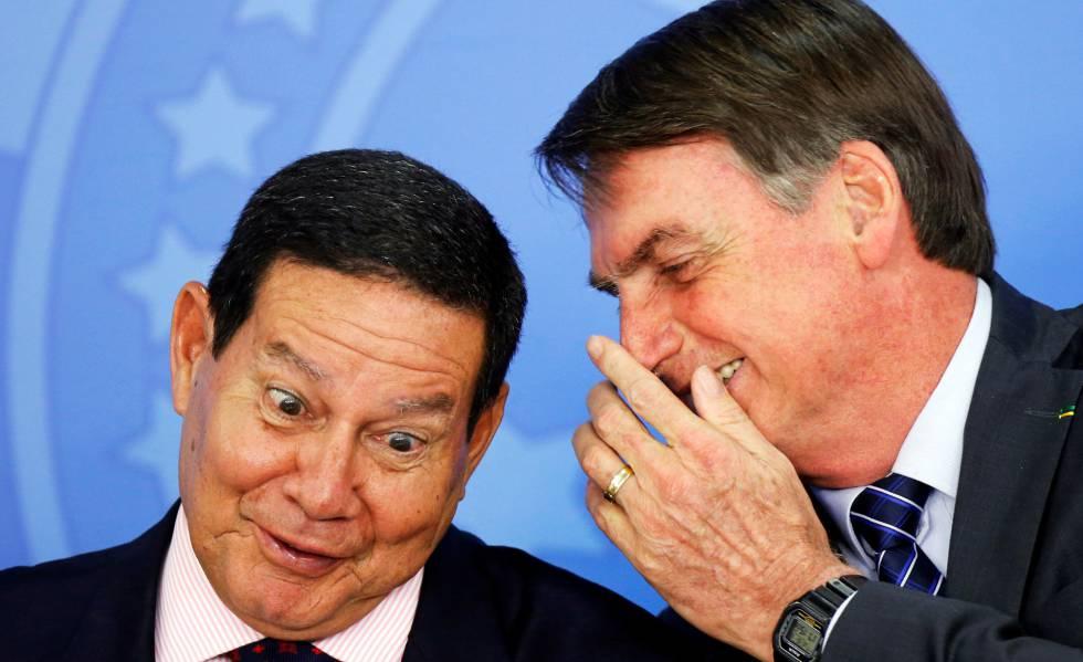 O vice-presidente Hamilton Mourão e o presidente Jair Bolsonaro.
